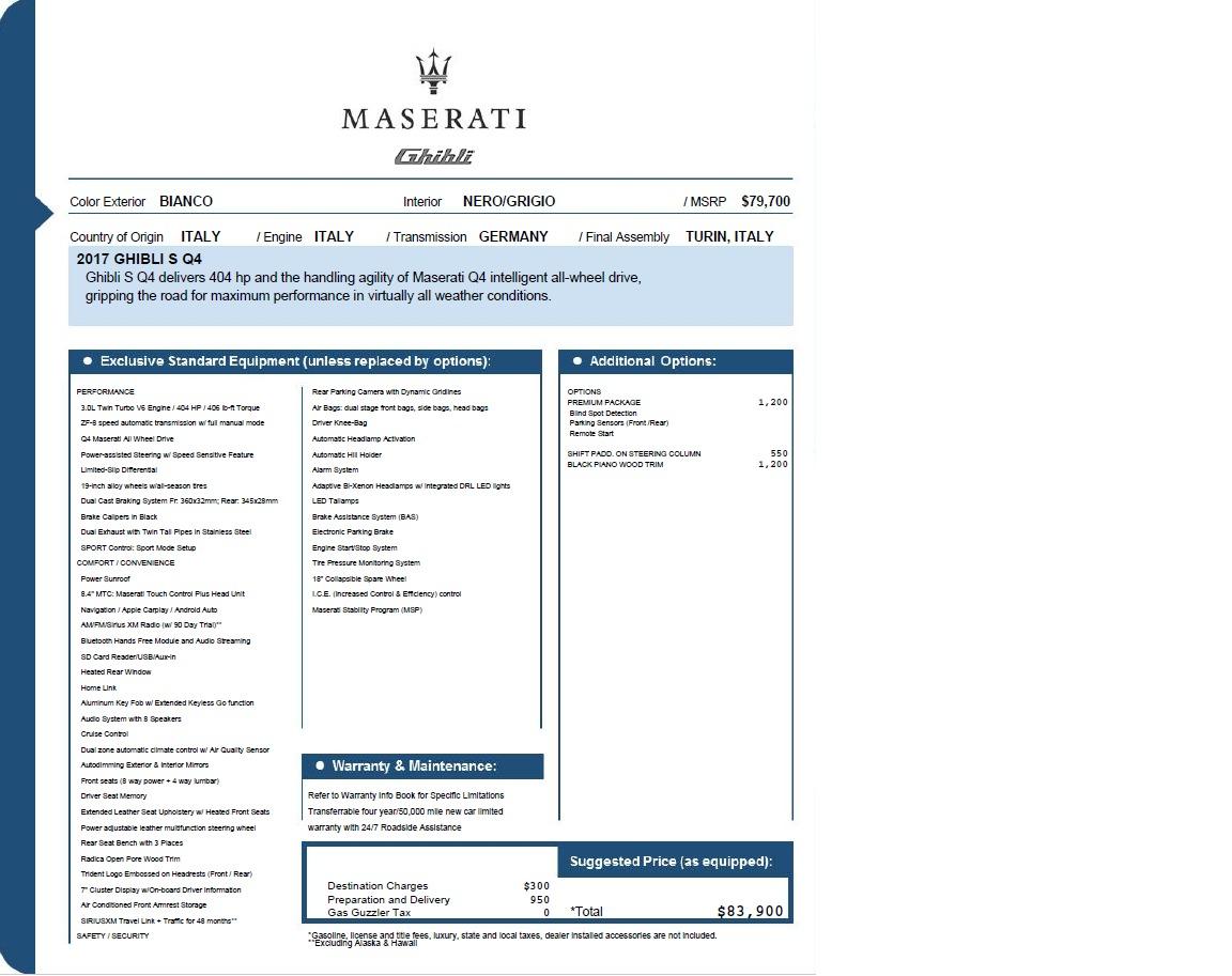 New 2017 Maserati Ghibli S Q4 EX-Loaner For Sale In Westport, CT 1031_p26