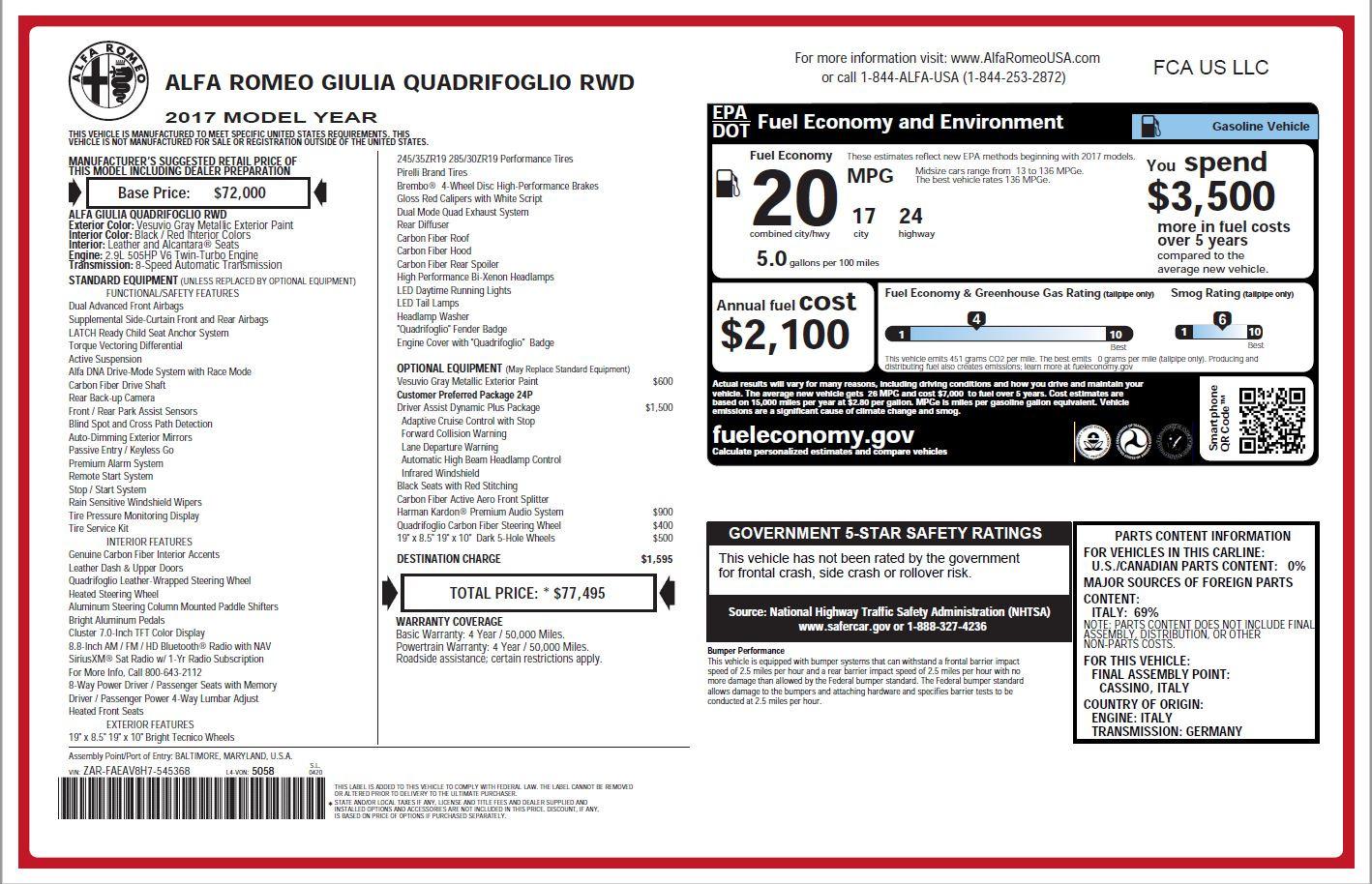 New 2017 Alfa Romeo Giulia Quadrifoglio For Sale In Westport, CT 1258_p23