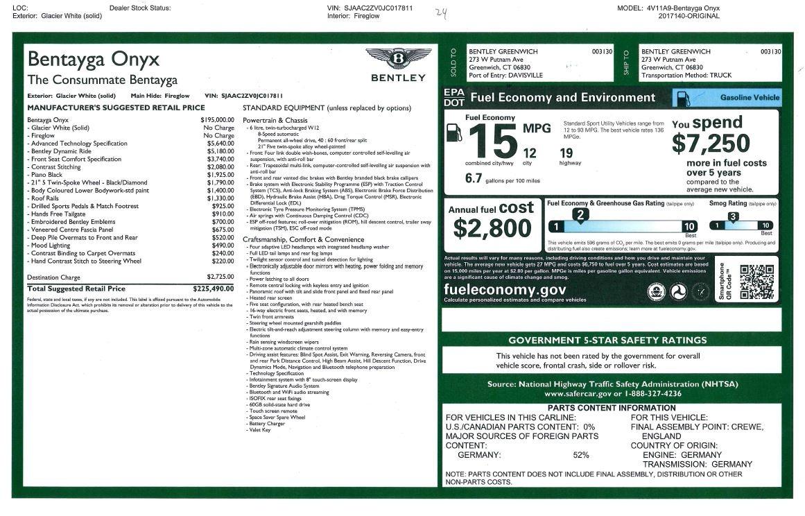 New 2018 Bentley Bentayga Onyx For Sale In Westport, CT 1425_p55
