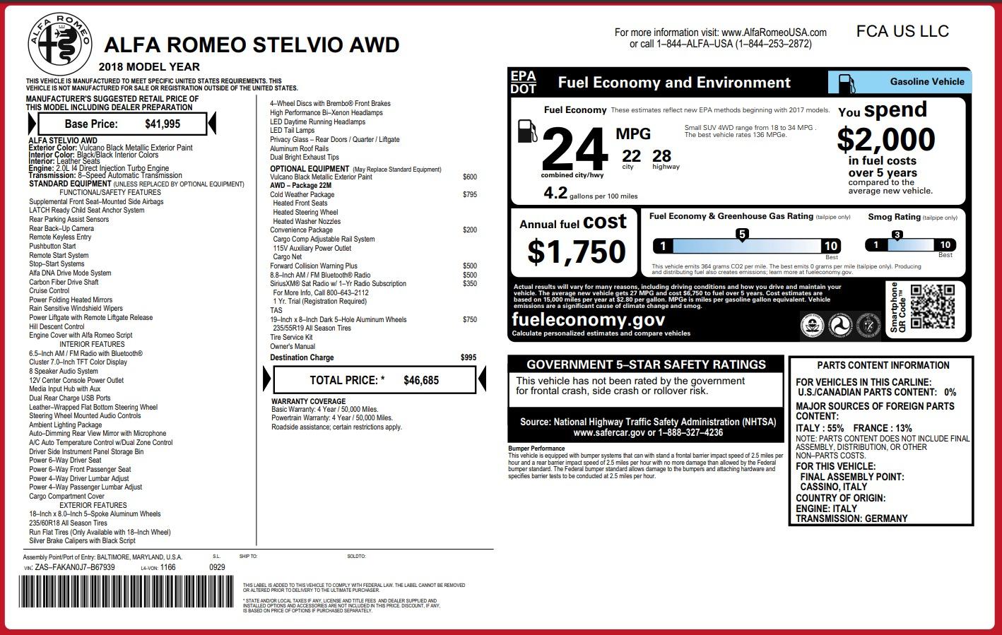New 2018 Alfa Romeo Stelvio Q4 For Sale In Westport, CT 1441_p26