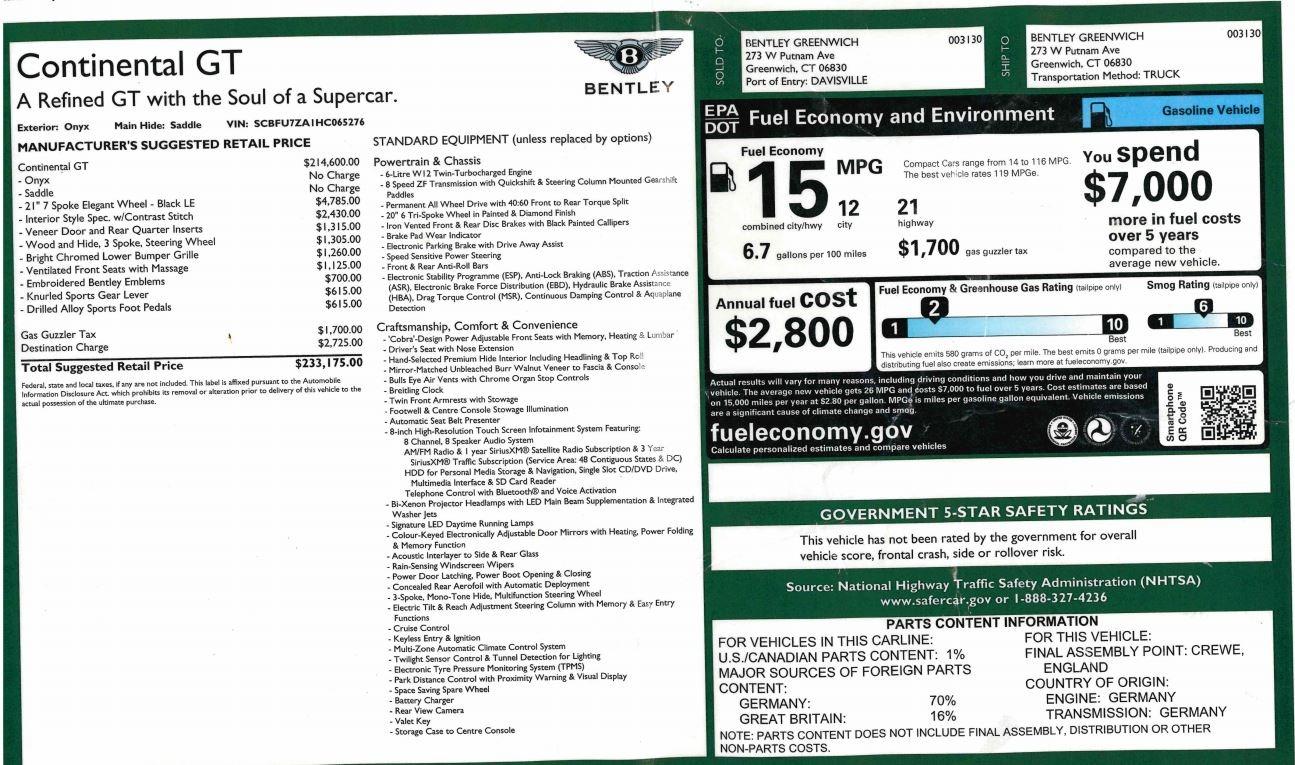New 2017 Bentley Continental GT W12 For Sale In Westport, CT 1501_p27