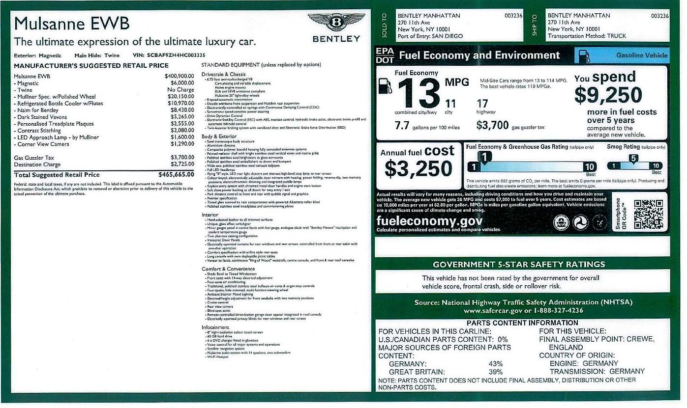 Used 2017 Bentley Mulsanne EWB For Sale In Westport, CT 1554_p32