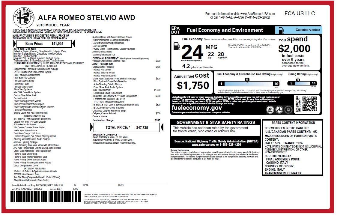 New 2018 Alfa Romeo Stelvio Q4 For Sale In Westport, CT 1592_p26