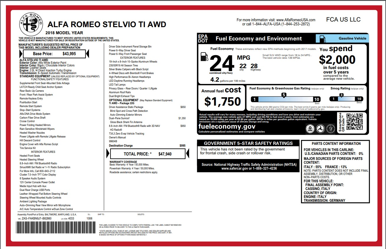 New 2018 Alfa Romeo Stelvio Ti Q4 For Sale In Westport, CT 1607_p26