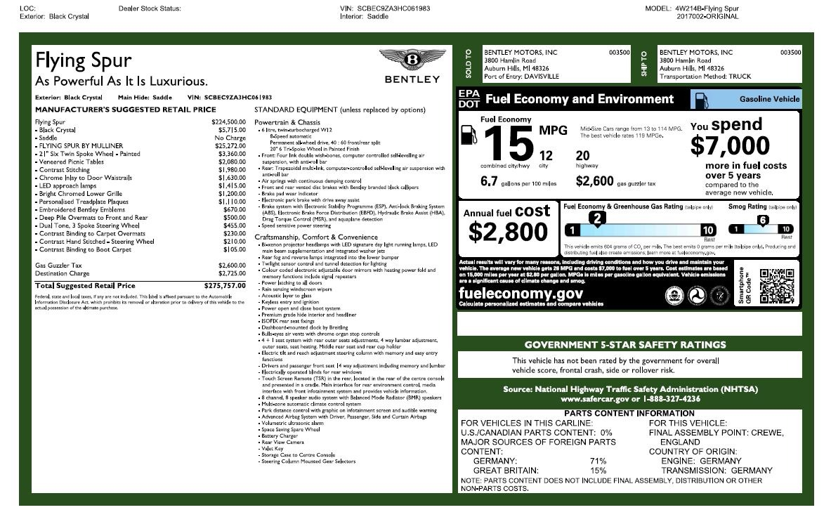 New 2017 Bentley Flying Spur W12 For Sale In Westport, CT 1616_p59