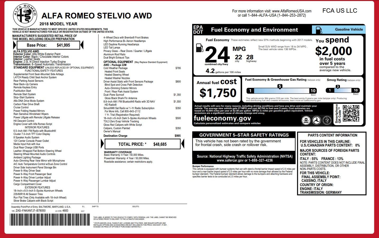 New 2018 Alfa Romeo Stelvio Q4 For Sale In Westport, CT 1649_p26