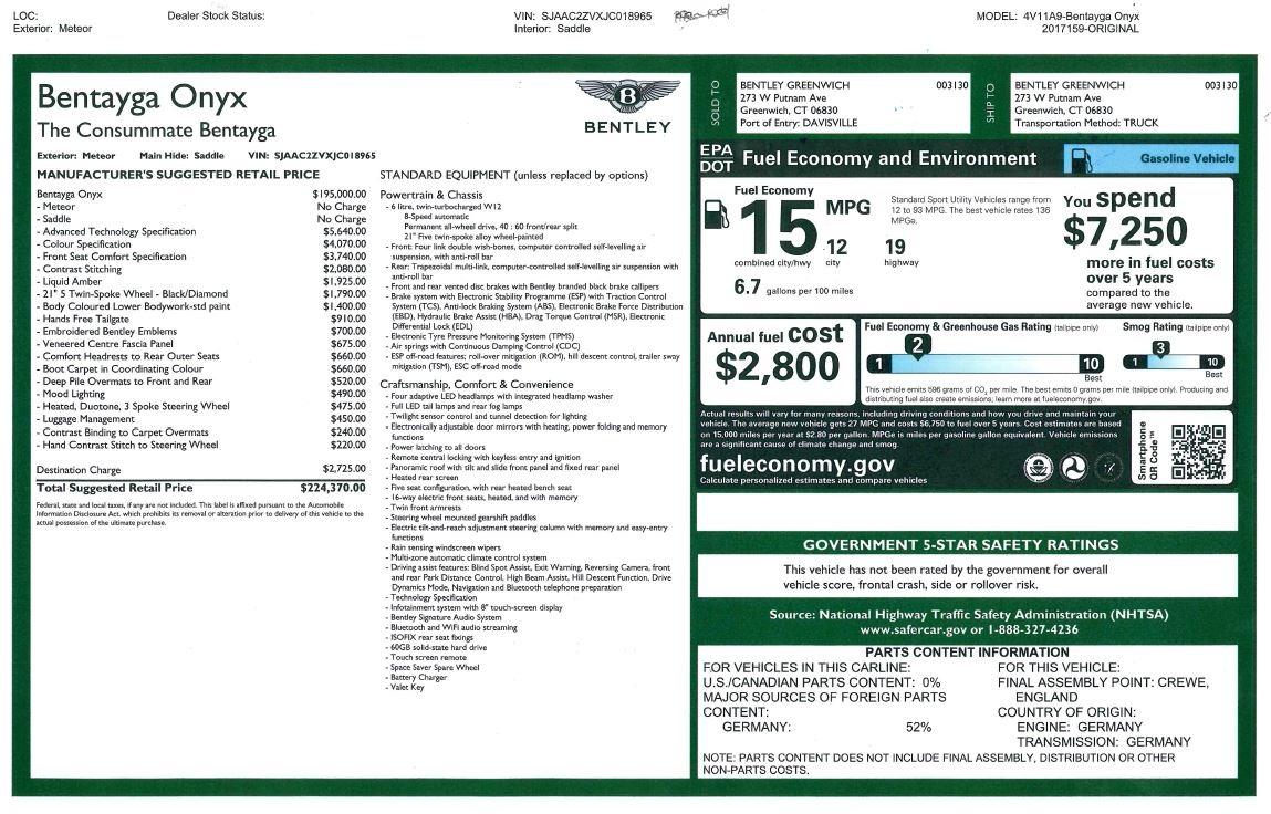 Used 2018 Bentley Bentayga Onyx For Sale In Westport, CT 1651_p32