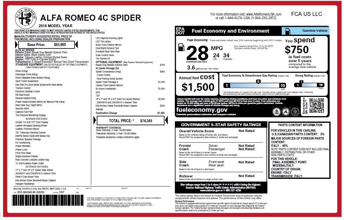 New 2018 Alfa Romeo 4C Spider For Sale In Westport, CT 1693_p34