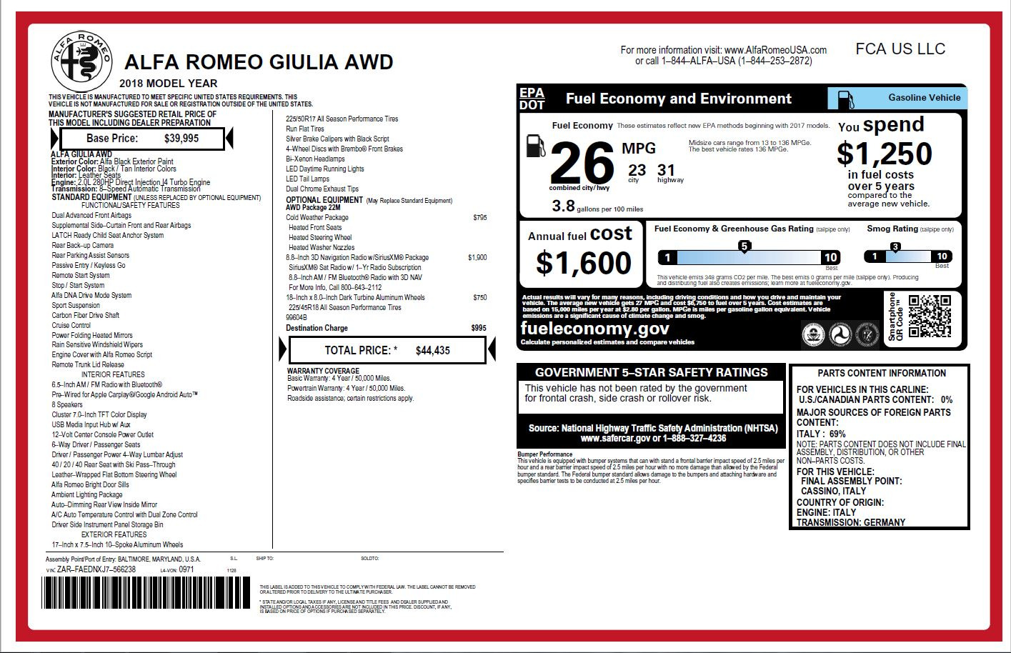 New 2018 Alfa Romeo Giulia Q4 For Sale In Westport, CT 1752_p26