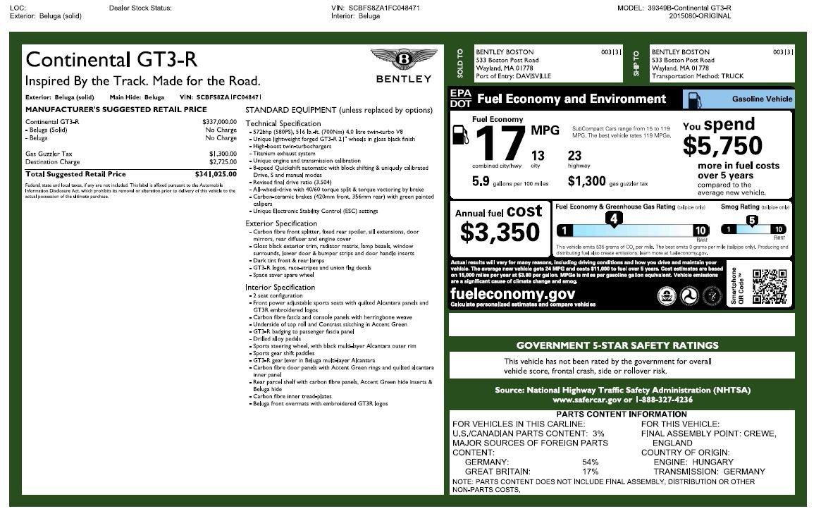 Used 2015 Bentley Continental GT GT3-R For Sale In Westport, CT 1794_p31