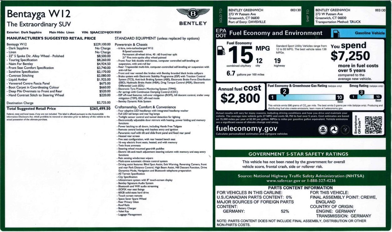 New 2018 Bentley Bentayga Signature For Sale In Westport, CT 1873_p33