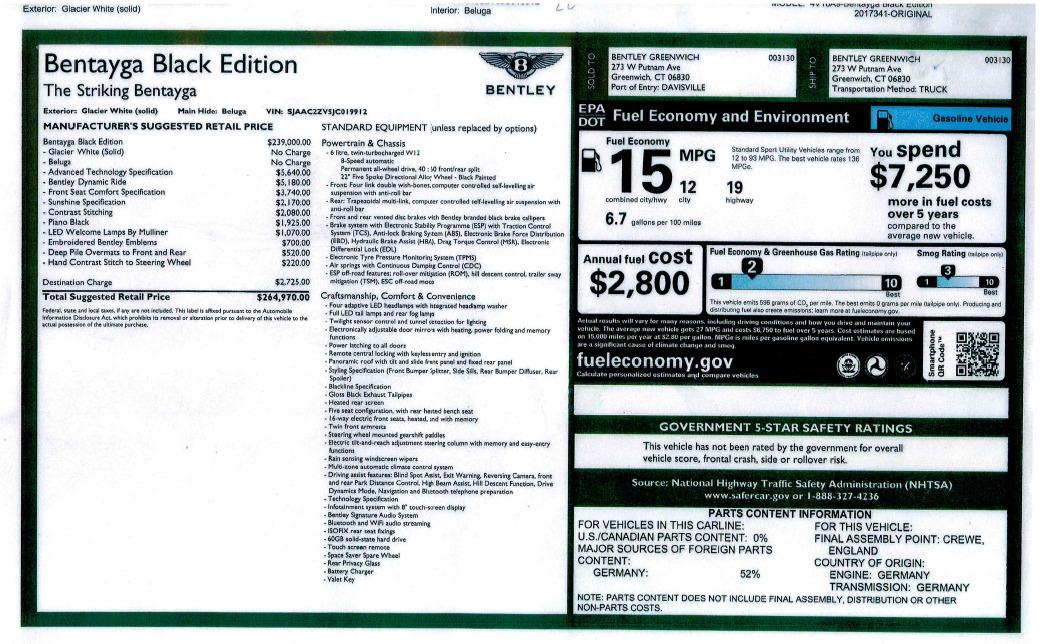 New 2018 Bentley Bentayga Black Edition For Sale In Westport, CT 1874_p51