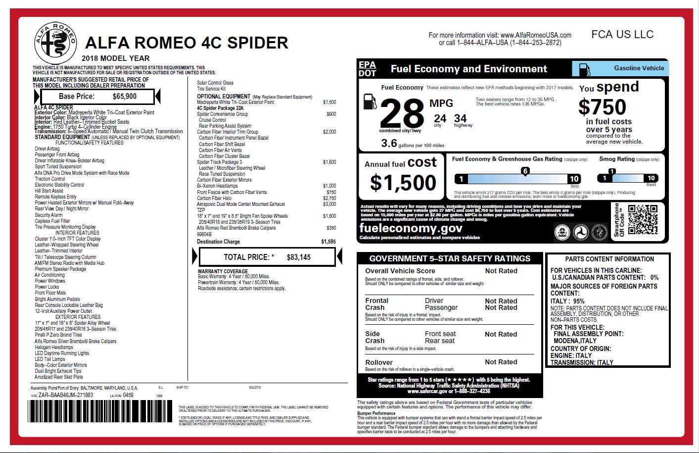 New 2018 Alfa Romeo 4C Spider For Sale In Westport, CT 1878_p28