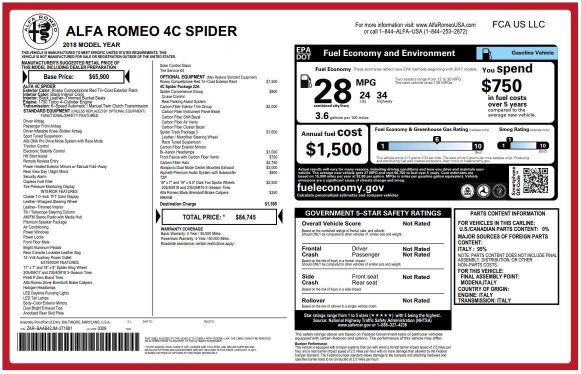 New 2018 Alfa Romeo 4C Spider For Sale In Westport, CT 1880_p26
