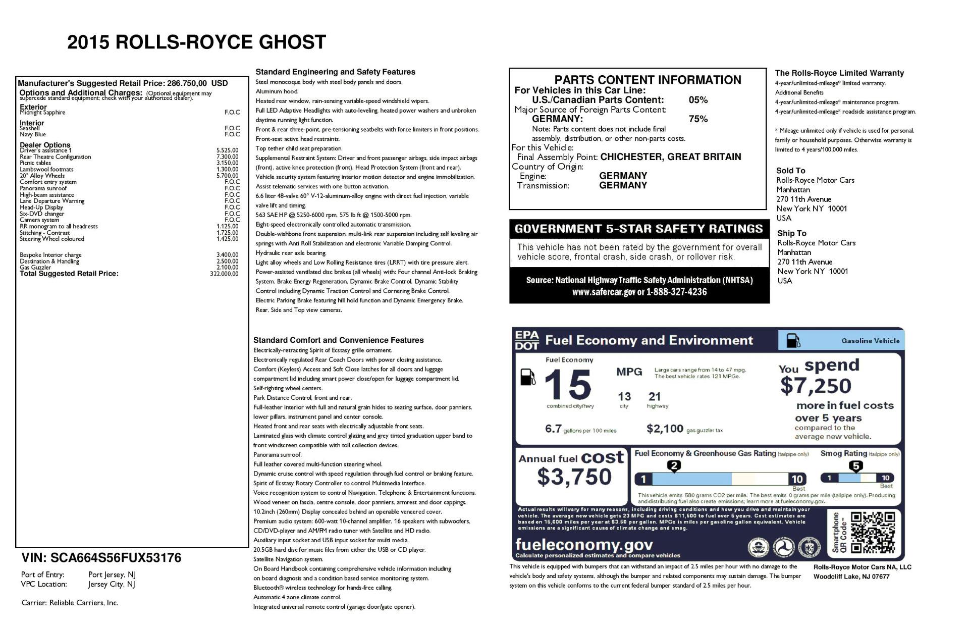 Used 2015 Rolls-Royce Ghost  For Sale In Westport, CT 1980_p32