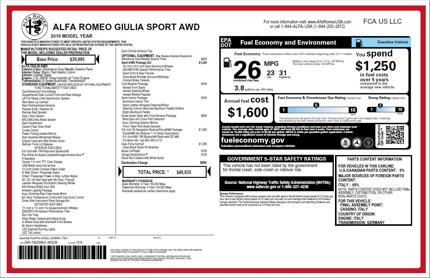 New 2018 Alfa Romeo Giulia Ti Sport Q4 For Sale In Westport, CT 2003_p26