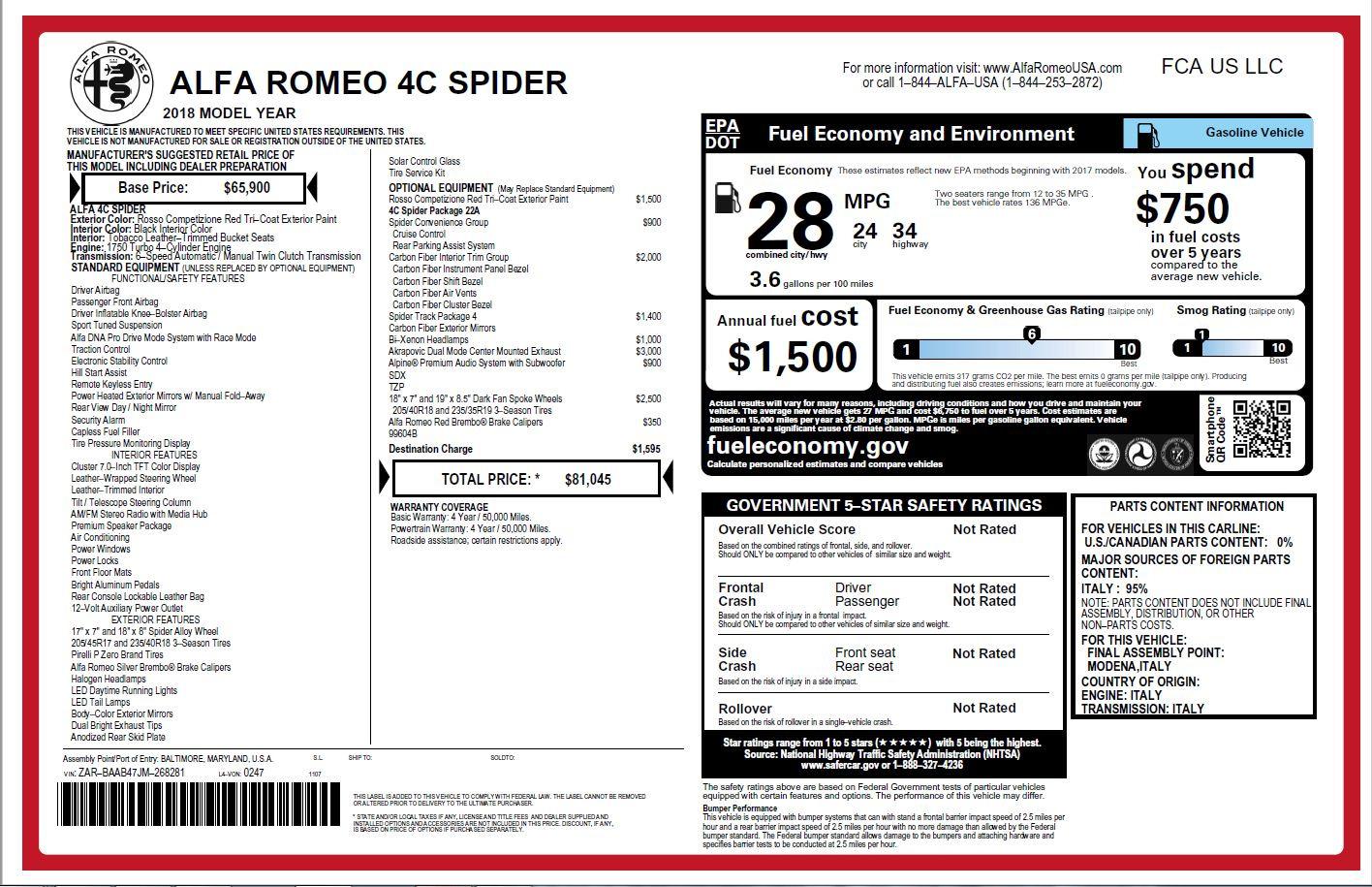 New 2018 Alfa Romeo 4C Spider For Sale In Westport, CT 2010_p31