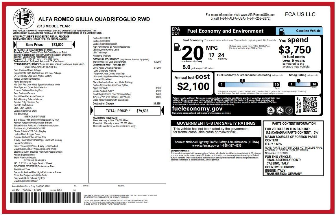New 2018 Alfa Romeo Giulia Quadrifoglio For Sale In Westport, CT 2031_p26