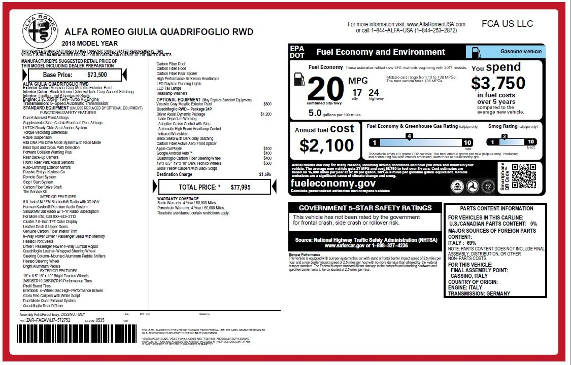 New 2018 Alfa Romeo Giulia Quadrifoglio For Sale In Westport, CT 2032_p26