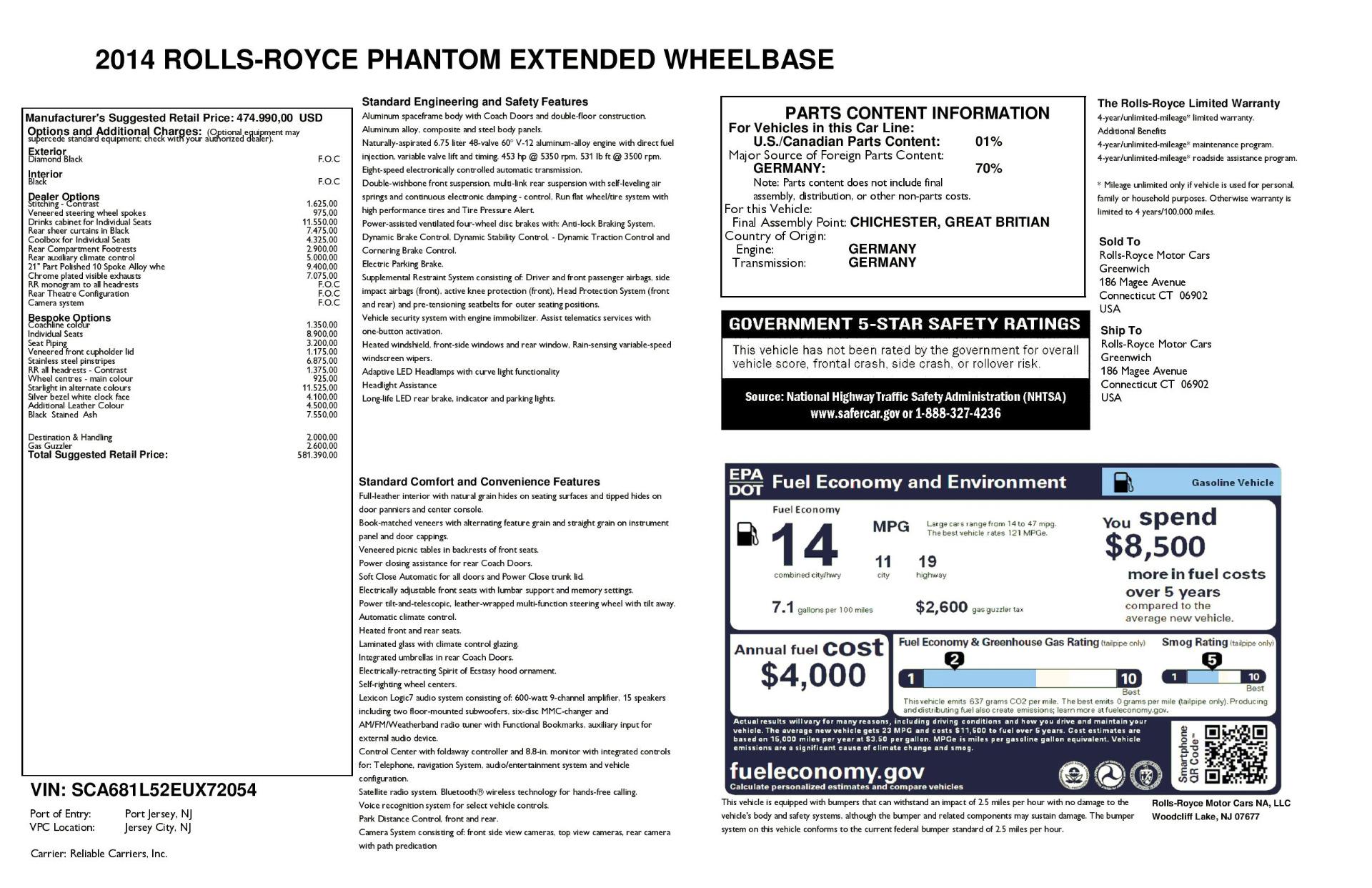 Used 2014 Rolls-Royce Phantom EWB For Sale In Westport, CT 2051_p37