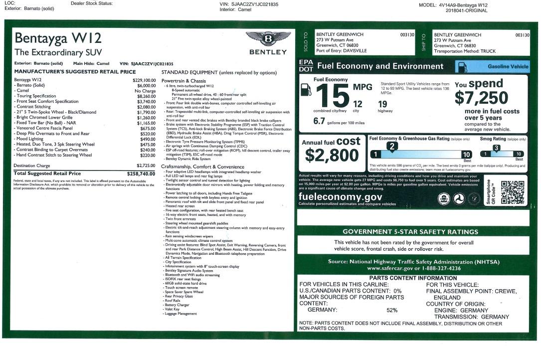 New 2018 Bentley Bentayga Signature For Sale In Westport, CT 2072_p51