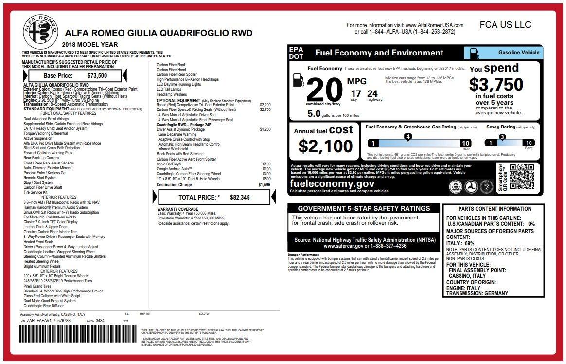 New 2018 Alfa Romeo Giulia Quadrifoglio For Sale In Westport, CT 2081_p26