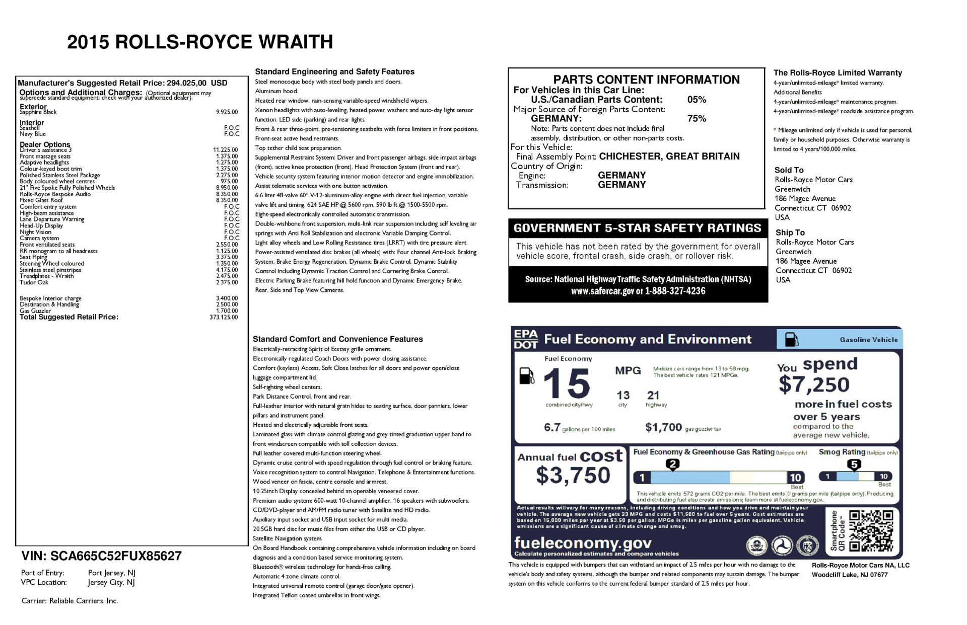 Used 2015 Rolls-Royce Wraith  For Sale In Westport, CT 2099_p29