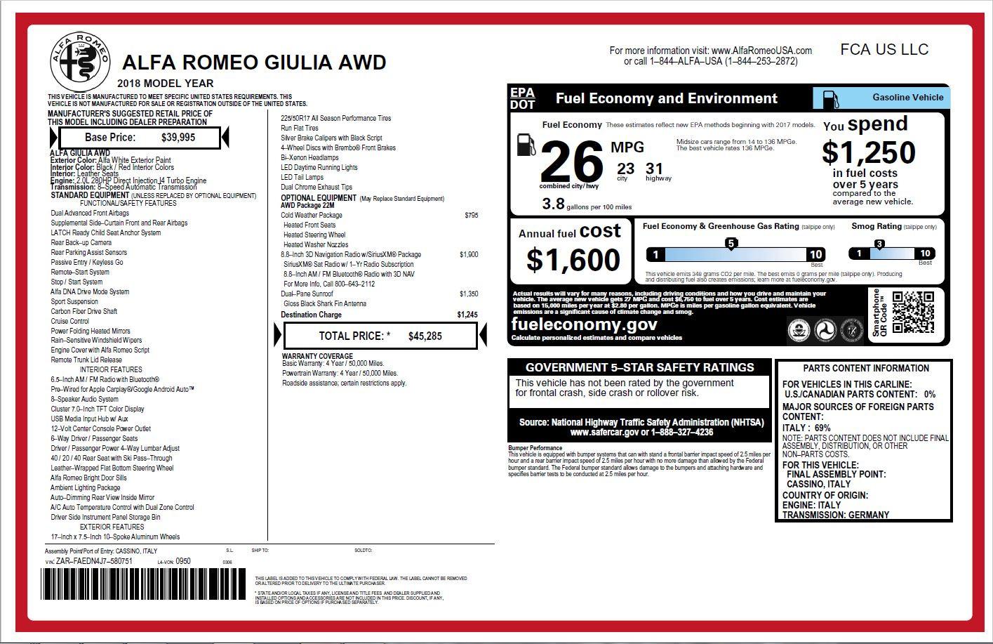 New 2018 Alfa Romeo Giulia Q4 For Sale In Westport, CT 2142_p26