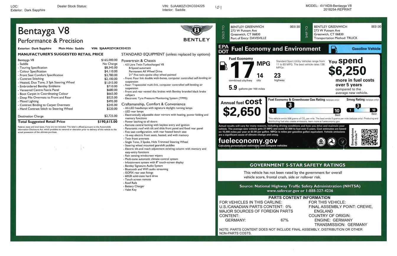 New 2019 Bentley Bentayga V8 For Sale In Westport, CT 2163_p32