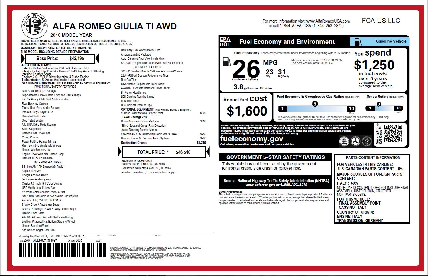 New 2018 Alfa Romeo Giulia Ti Q4 For Sale In Westport, CT 2174_p26