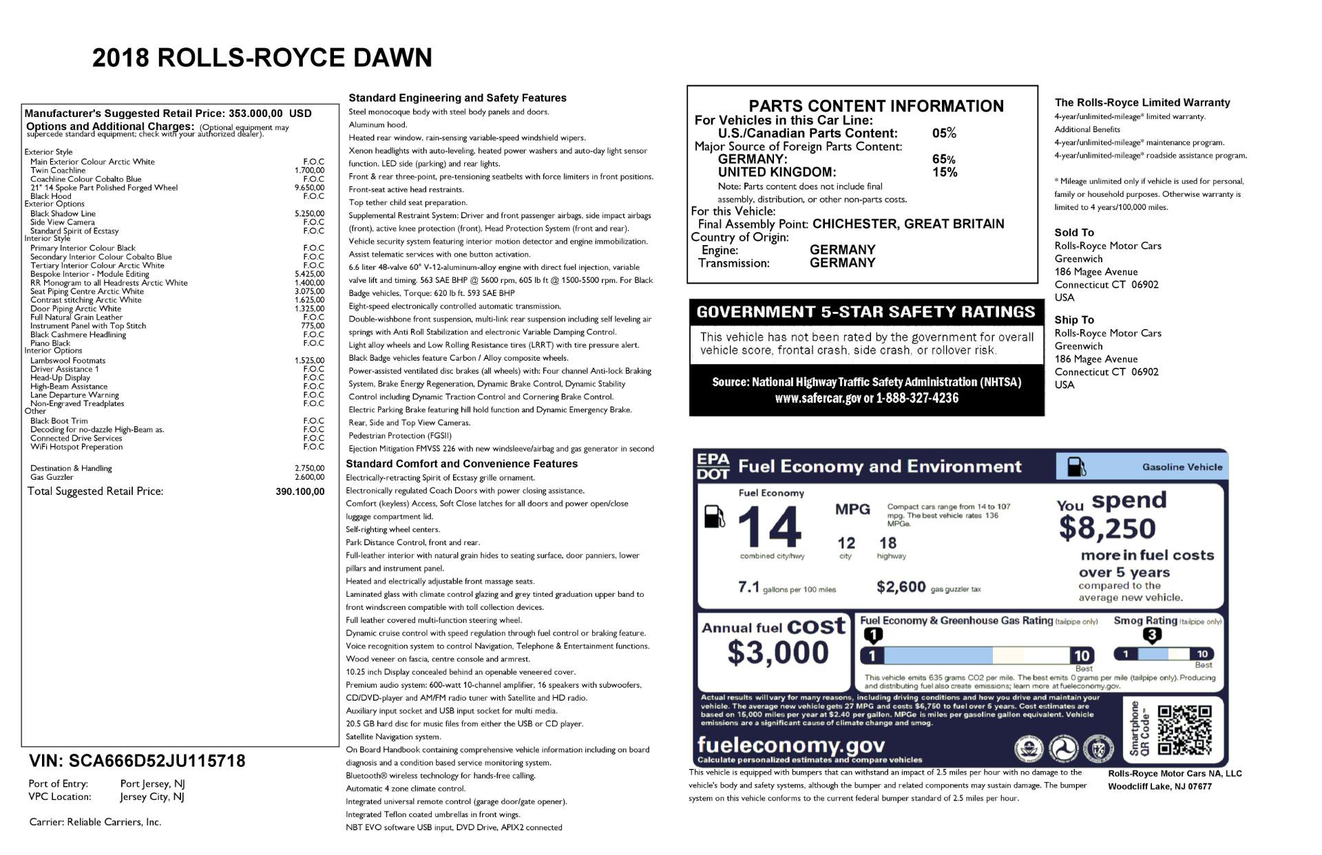 Used 2018 Rolls-Royce Dawn  For Sale In Westport, CT 2181_p29