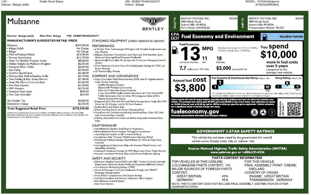 Used 2016 Bentley Mulsanne  For Sale In Westport, CT 2189_p26