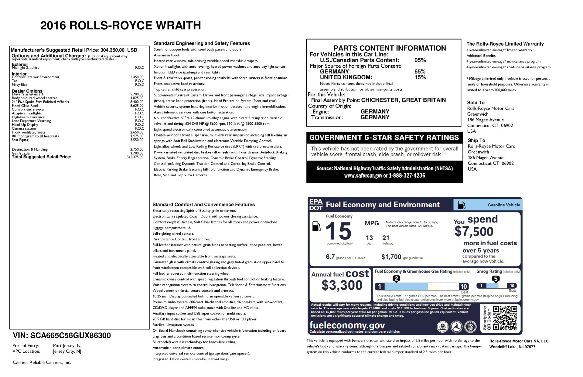 Used 2016 Rolls-Royce Wraith  For Sale In Westport, CT 219_p24