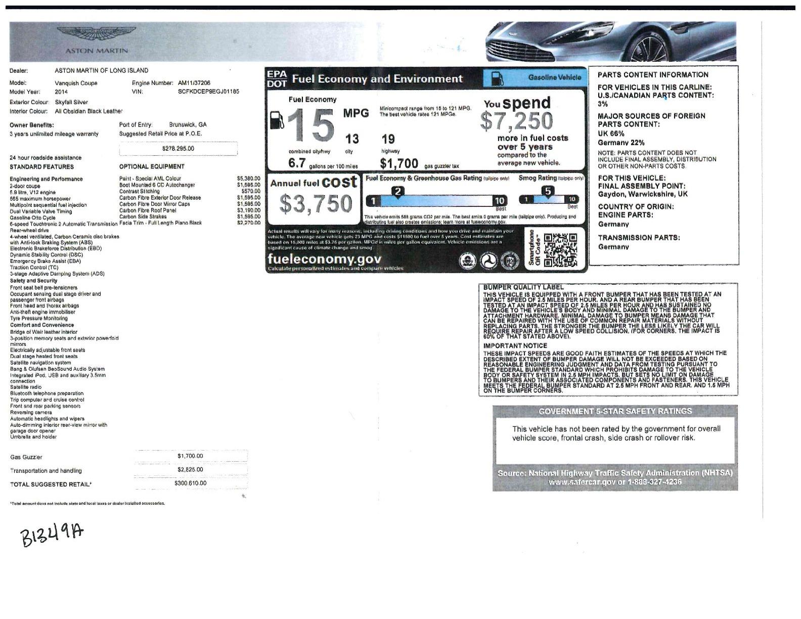 Used 2014 Aston Martin Vanquish  For Sale In Westport, CT 2212_p22