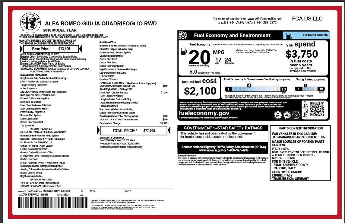 New 2018 Alfa Romeo Giulia Quadrifoglio For Sale In Westport, CT 2222_p28