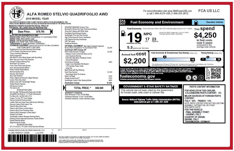 New 2018 Alfa Romeo Stelvio Quadrifoglio For Sale In Westport, CT 2251_p26
