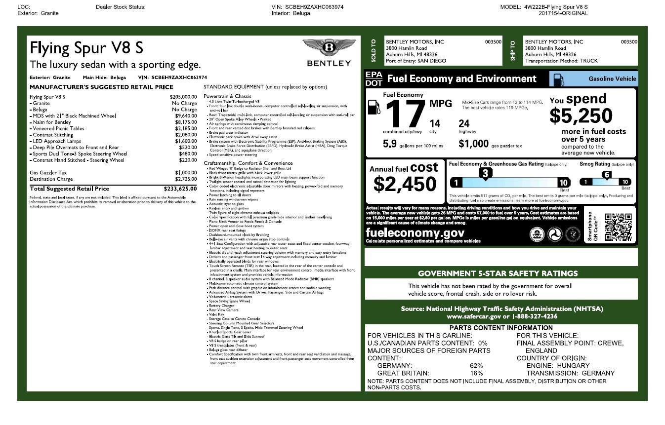 Used 2017 Bentley Flying Spur V8 S For Sale In Westport, CT 2263_p31