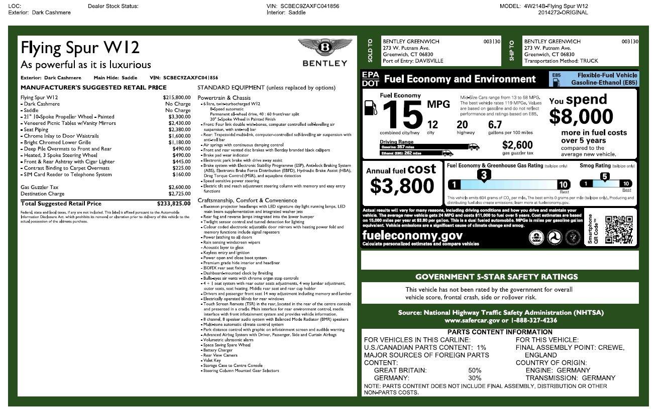 Used 2015 Bentley Flying Spur W12 For Sale In Westport, CT 2266_p30