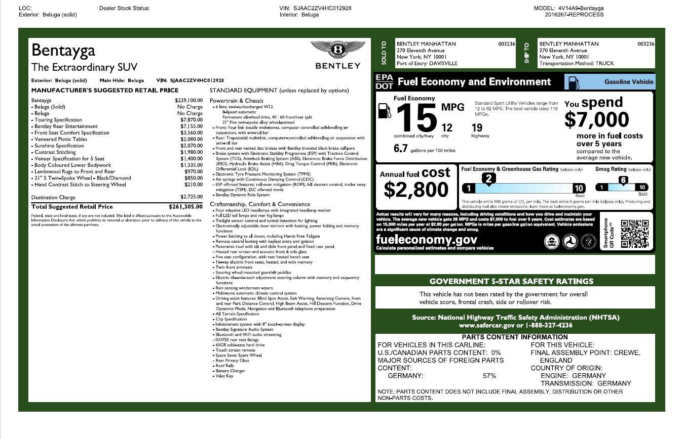 Used 2017 Bentley Bentayga W12 For Sale In Westport, CT 2284_p27