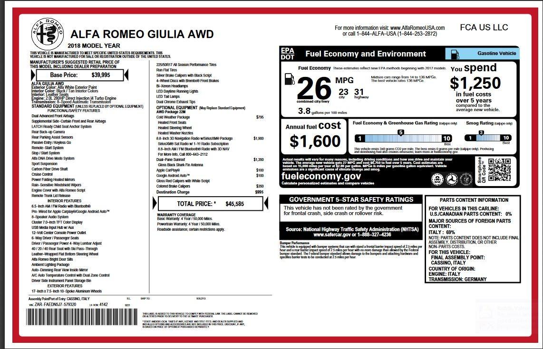 New 2018 Alfa Romeo Giulia  For Sale In Westport, CT 2314_p2