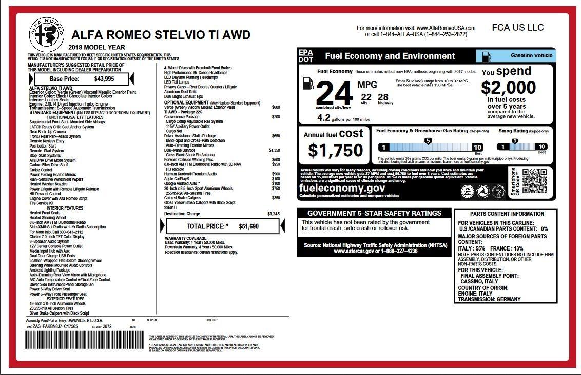 New 2018 Alfa Romeo Stelvio Ti Q4 For Sale In Westport, CT 2321_p2