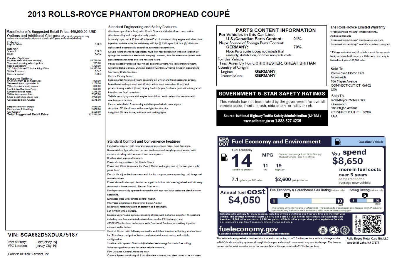 Used 2013 Rolls-Royce Phantom Drophead Coupe  For Sale In Westport, CT 2444_p33