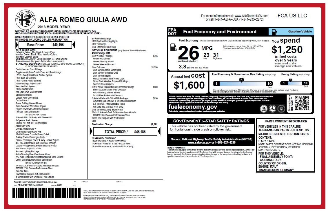 New 2018 Alfa Romeo Giulia Q4 For Sale In Westport, CT 2453_p26