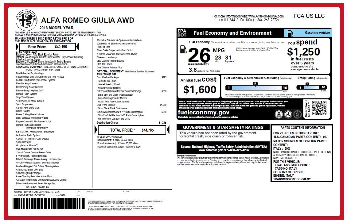 New 2018 Alfa Romeo Giulia Q4 For Sale In Westport, CT 2467_p2
