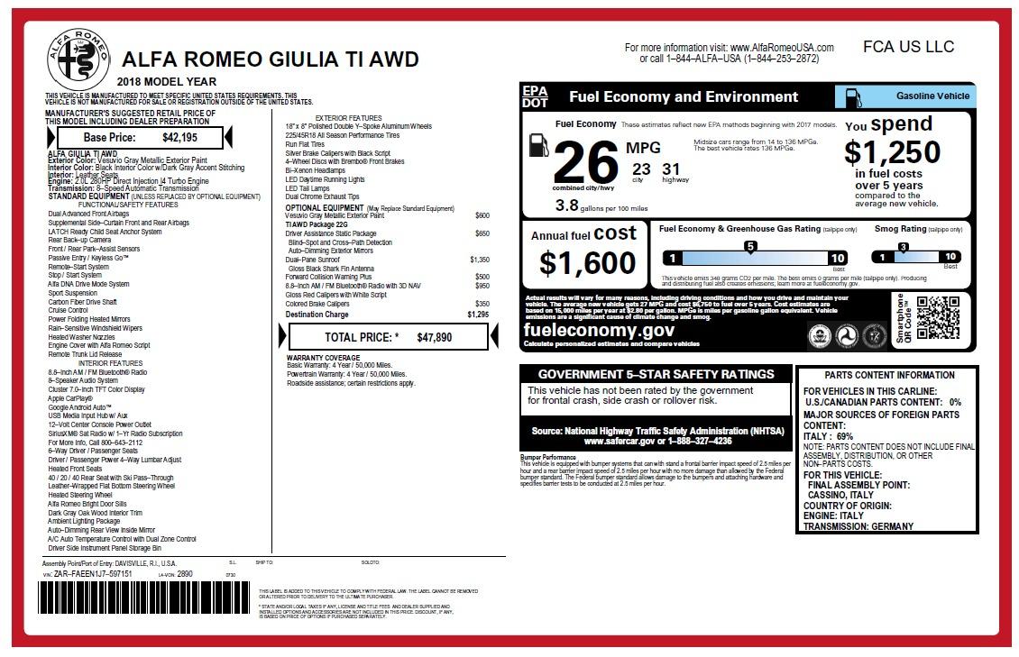 New 2018 Alfa Romeo Giulia Ti Q4 For Sale In Westport, CT 2469_main