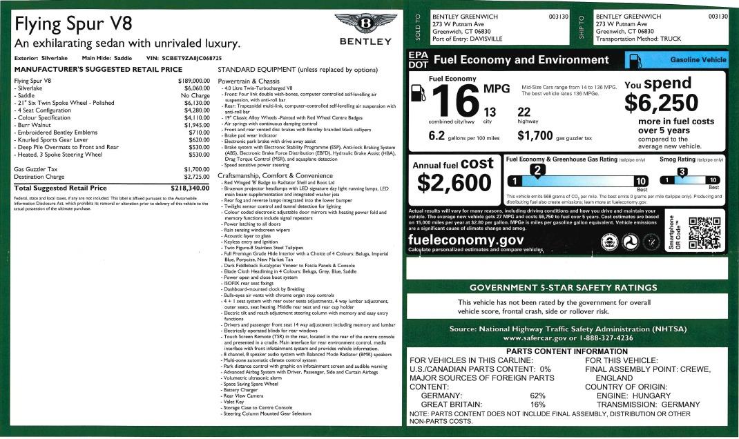 New 2018 Bentley Flying Spur V8 For Sale In Westport, CT 2484_p29