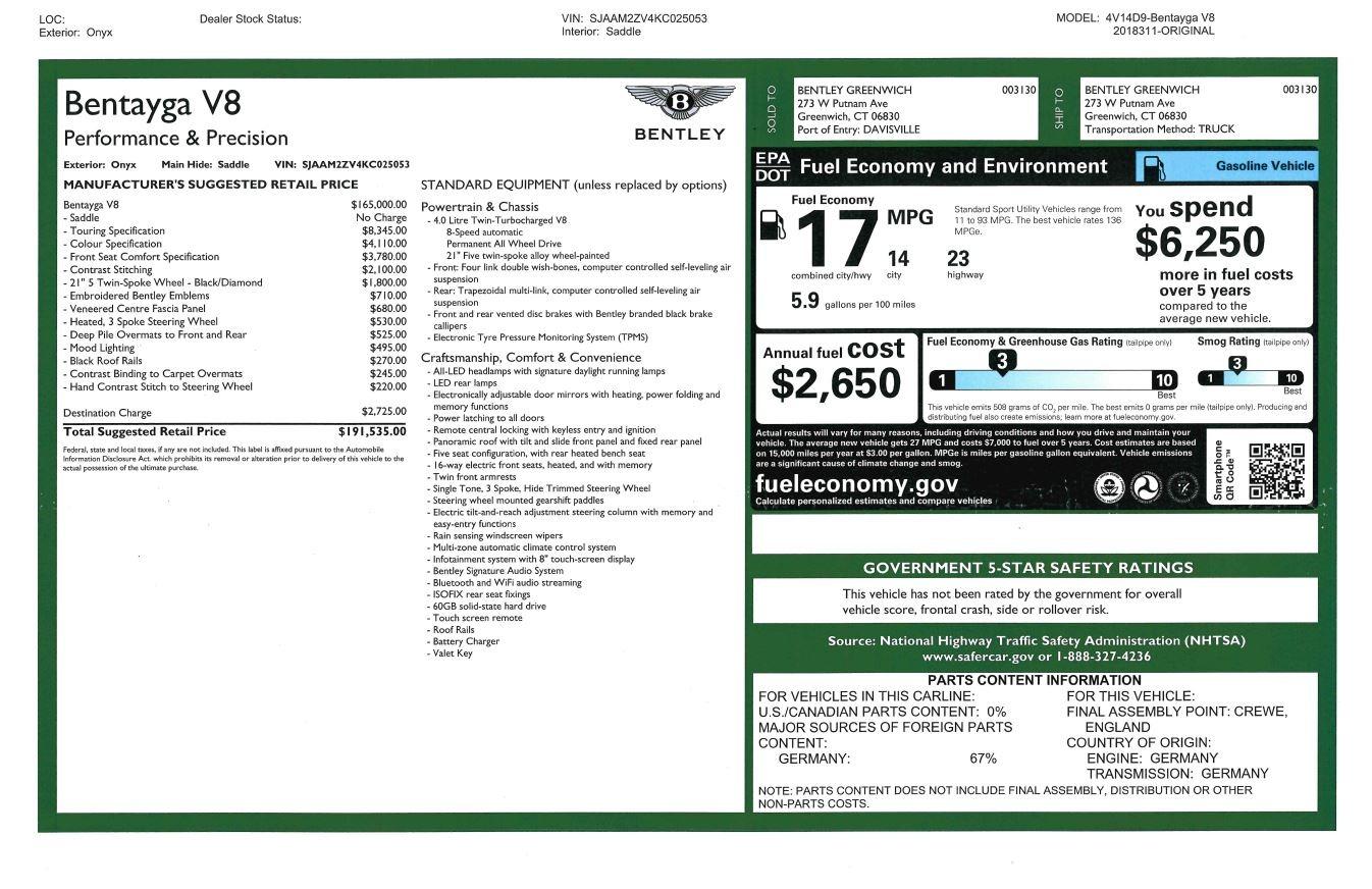 New 2019 Bentley Bentayga V8 For Sale In Westport, CT 2537_p31
