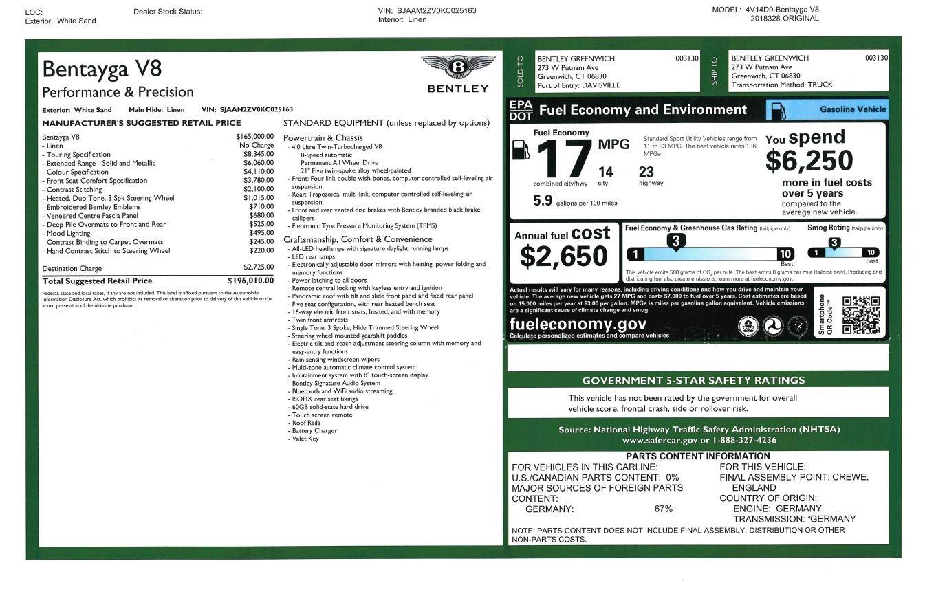 New 2019 Bentley Bentayga V8 For Sale In Westport, CT 2538_p32