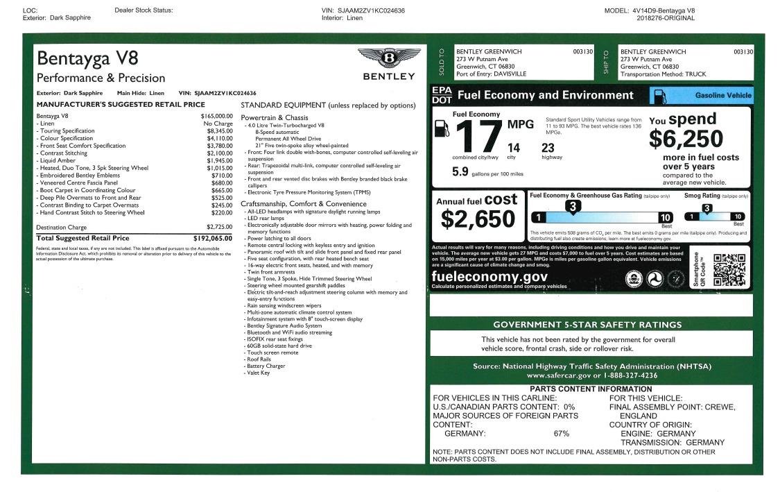 New 2019 Bentley Bentayga V8 For Sale In Westport, CT 2546_p32