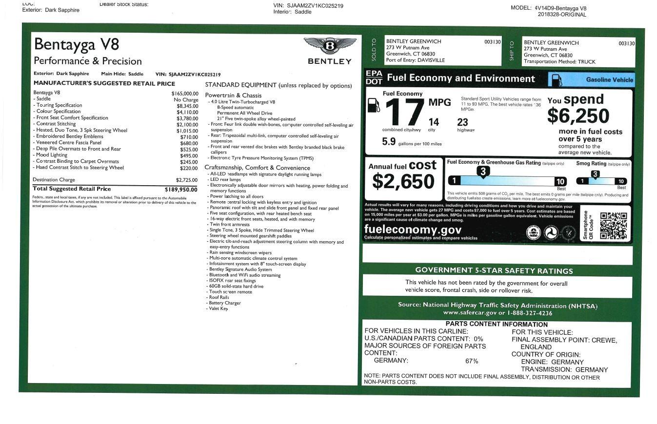 New 2019 Bentley Bentayga V8 For Sale In Westport, CT 2548_p32
